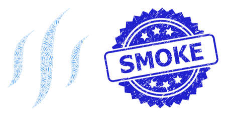 Smoke rubber stamp seal and vector recursive collage vapor. Blue stamp seal includes Smoke text inside rosette. Vector collage is formed from recursive rotated vapor items.