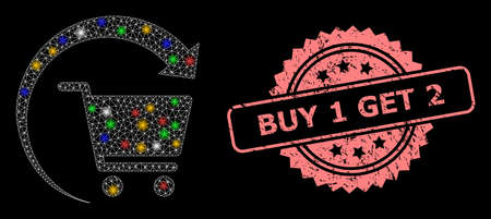 Glowing mesh network repeat shopping order with bright dots, and Buy 1 Get 2 textured rosette stamp seal. Illuminated vector constellation created from repeat shopping order symbol.