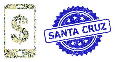 Military camouflage collage of mobile dollar bank, and Santa Cruz grunge rosette stamp. Blue stamp contains Santa Cruz text inside rosette. Mosaic mobile dollar bank designed with camouflage items. Vector Illustration