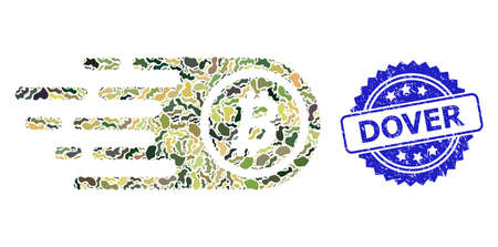 Military camouflage composition of bitcoin, and Dover grunge rosette stamp seal. Blue stamp seal has Dover title inside rosette. Mosaic bitcoin designed with camouflage elements. Çizim