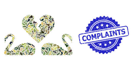 Military camouflage collage of divorce swans, and Complaints corroded rosette seal print. Blue seal contains Complaints title inside rosette. Mosaic divorce swans constructed with camouflage elements.