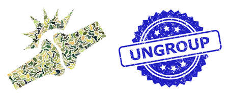 Military camouflage collage of bone joint fracture, and Ungroup scratched rosette stamp seal. Blue stamp contains Ungroup tag inside rosette. Çizim