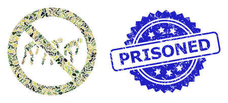 Military camouflage collage of forbidden slavery, and Prisoned dirty rosette stamp seal. Blue stamp seal has Prisoned caption inside rosette.