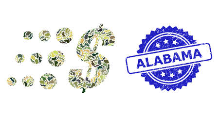 Military camouflage composition of fast dollar, and Alabama grunge rosette seal imitation. Blue seal contains Alabama text inside rosette. Mosaic fast dollar constructed with camouflage items.