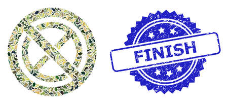 Military camouflage collage of forbidden ban, and Finish rubber rosette seal. Blue stamp seal includes Finish caption inside rosette. Mosaic forbidden ban designed with camouflage spots. Ilustração