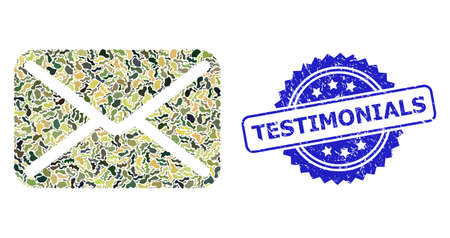 Military camouflage combination of letter, and Testimonials rubber rosette stamp seal. Blue stamp seal includes Testimonials tag inside rosette. Mosaic letter designed with camouflage elements.
