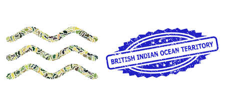 Military camouflage composition of water surface, and British Indian Ocean Territory unclean rosette watermark. Blue stamp contains British Indian Ocean Territory text inside rosette. Çizim