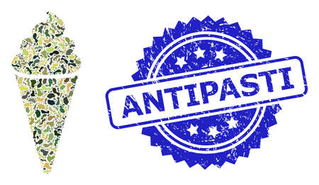 Military camouflage collage of ice cream, and Antipasti corroded rosette stamp seal. Blue stamp seal includes Antipasti caption inside rosette. Mosaic ice cream designed with camo texture.