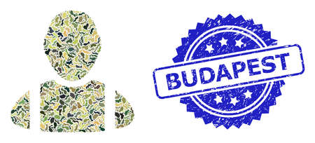 Military camouflage composition of worker, and Budapest scratched rosette seal imitation. Blue stamp has Budapest caption inside rosette. Mosaic worker constructed with camouflage items.