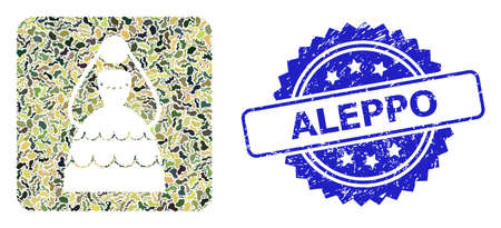 Military camouflage composition of bride, and Aleppo corroded rosette stamp. Blue stamp seal contains Aleppo text inside rosette. Mosaic bride constructed with camouflage texture. Ilustración de vector
