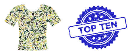 Military camouflage collage of dirty t-shirt, and Top Ten grunge rosette stamp seal. Blue stamp seal contains Top Ten tag inside rosette. Mosaic dirty t-shirt constructed with camouflage items. Ilustração