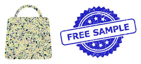 Military camouflage combination of shopping bag, and Free Sample textured rosette stamp seal. Blue seal has Free Sample title inside rosette. Mosaic shopping bag constructed with camouflage elements.