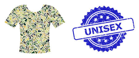 Military camouflage collage of t-shirt, and Unisex rubber rosette stamp seal. Blue seal contains Unisex title inside rosette. Mosaic t-shirt designed with camouflage texture.