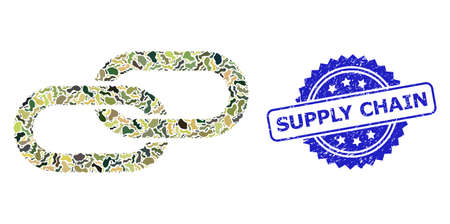 Military camouflage combination of chain, and Supply Chain dirty rosette stamp seal. Blue seal contains Supply Chain title inside rosette. Mosaic chain constructed with camouflage items. Illustration