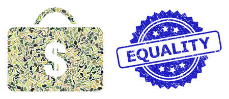 Military camouflage collage of business case, and Equality rubber rosette seal imitation. Blue seal contains Equality caption inside rosette. Mosaic business case constructed with camouflage elements.