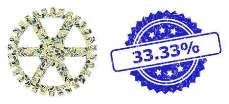 Military camouflage collage of clock gearwheel, and 33.33% rubber rosette seal print. Blue seal has 33.33% tag inside rosette. Mosaic clock gearwheel designed with camouflage elements.