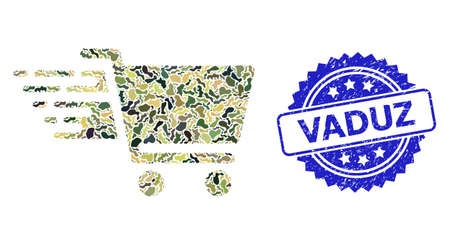 Military camouflage collage of shopping cart, and Vaduz unclean rosette stamp. Blue stamp seal includes Vaduz text inside rosette. Mosaic shopping cart designed with camouflage items.