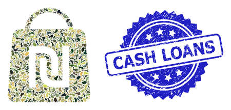 Military camouflage collage of shekel shopping bag, and Cash Loans dirty rosette seal. Blue stamp seal includes Cash Loans caption inside rosette.