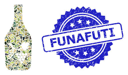 Military camouflage collage of wine bottle, and Funafuti scratched rosette stamp. Blue stamp seal contains Funafuti title inside rosette. Mosaic wine bottle designed with camouflage elements.
