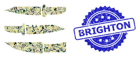 Military camouflage composition of knives, and Brighton rubber rosette seal. Blue seal includes Brighton tag inside rosette. Mosaic knives designed with camouflage texture.