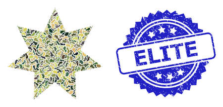 Military camouflage composition of eight corner star, and Elite textured rosette stamp seal. Blue stamp has Elite tag inside rosette. Mosaic eight corner star constructed with camouflage elements.