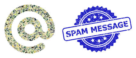 Military camouflage collage of email symbol, and Spam Message grunge rosette stamp seal. Blue seal contains Spam Message tag inside rosette. Mosaic email symbol constructed with camouflage texture.
