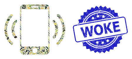 Military camouflage combination of cellphone vibration, and Woke rubber rosette stamp seal. Blue stamp seal has Woke tag inside rosette. Mosaic cellphone vibration constructed with camouflage items.