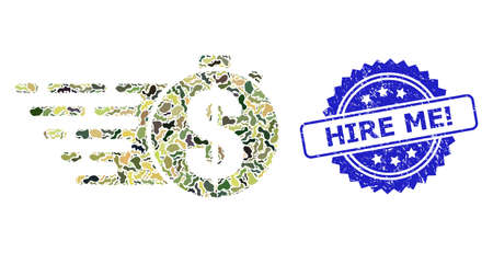 Military camouflage composition of credit meter, and Hire Me! dirty rosette stamp. Blue stamp contains Hire Me! tag inside rosette. Mosaic credit meter designed with camo texture.