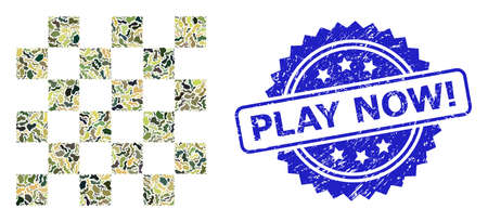 Military camouflage composition of chess board, and Play Now! grunge rosette stamp seal. Blue stamp includes Play Now! tag inside rosette. Mosaic chess board designed with camouflage elements.