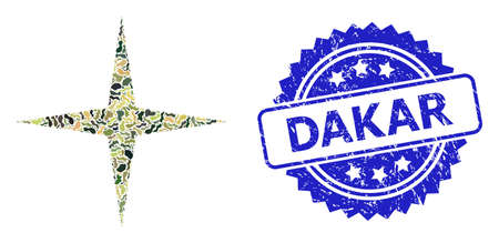 Military camouflage collage of space star, and Dakar textured rosette stamp seal. Blue stamp seal contains Dakar tag inside rosette. Mosaic space star designed with camouflage elements.