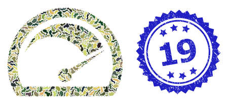 Military camouflage collage of speed gauge, and 19 unclean rosette stamp. Blue stamp seal includes 19 text inside rosette. Mosaic speed gauge designed with camouflage spots.