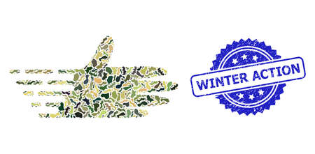 Military camouflage collage of moving hand, and Winter Action dirty rosette stamp seal. Blue stamp has Winter Action title inside rosette. Mosaic moving hand constructed with camo texture. Illusztráció
