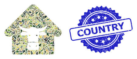 Military camouflage combination of cow farm, and Country grunge rosette seal imitation. Blue stamp seal contains Country title inside rosette. Mosaic cow farm designed with camouflage spots. Illusztráció