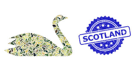 Military camouflage combination of goose, and Scotland unclean rosette stamp seal. Blue stamp seal contains Scotland text inside rosette. Mosaic goose designed with camouflage elements. Illusztráció