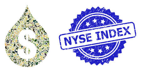 Military camouflage composition of oil drop price, and Nyse Index unclean rosette stamp seal. Blue stamp seal has Nyse Index text inside rosette.