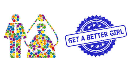 Bright colored mosaic bride and groom, and Get a Better Girl unclean rosette stamp seal. Blue stamp seal has Get a Better Girl text inside rosette. Ilustración de vector