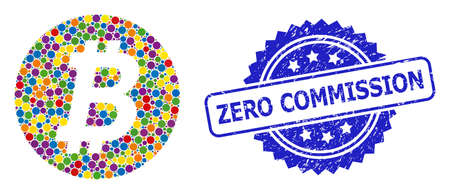 Colored collage bitcoin coin, and Zero Commission corroded rosette stamp seal. Blue stamp includes Zero Commission caption inside rosette.