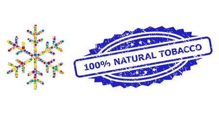 Multicolored mosaic snowflake, and 100% Natural Tobacco rubber rosette seal imitation. Blue seal has 100% Natural Tobacco text inside rosette.