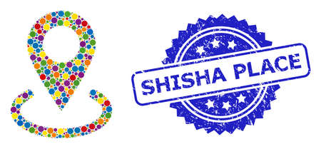 Multicolored mosaic location, and Shisha Place textured rosette stamp seal. Blue stamp includes Shisha Place text inside rosette.