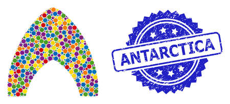 Multicolored mosaic igloo home, and Antarctica dirty rosette seal print. Blue stamp seal contains Antarctica tag inside rosette. Vector spheric spots are combined into abstract mosaic igloo home icon.