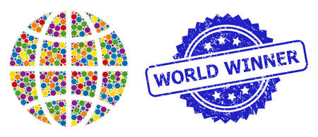 Bright colored collage globe, and World Winner unclean rosette stamp seal. Blue stamp seal has World Winner title inside rosette. Vector circle spots are organized into abstract mosaic globe icon. Illusztráció