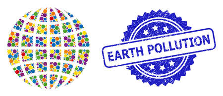 Bright colored mosaic globe, and Earth Pollution unclean rosette stamp. Blue stamp includes Earth Pollution title inside rosette. Vector round elements are combined into abstract mosaic globe icon.