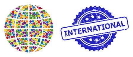 Colored collage globe, and International scratched rosette stamp seal. Blue stamp seal contains International text inside rosette. Vector circle dots are arranged into abstract collage globe icon.
