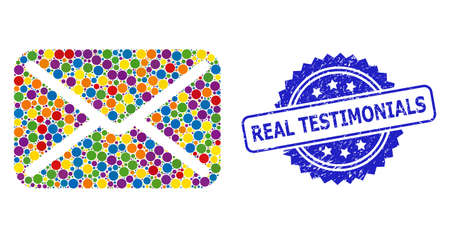 Bright colored mosaic letter, and Real Testimonials grunge rosette seal. Blue stamp seal contains Real Testimonials title inside rosette. Vettoriali