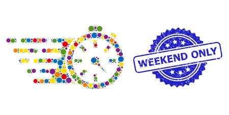 Colorful collage timer, and Weekend Only grunge rosette seal. Blue stamp seal has Weekend Only title inside rosette. Vector circle elements are united into abstract collage timer icon.
