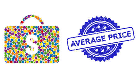 Vibrant collage business case, and Average Price scratched rosette stamp seal. Blue stamp includes Average Price title inside rosette.