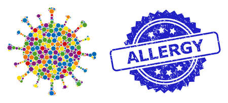 Multicolored collage Covid-19 virus, and Allergy unclean rosette seal. Blue seal contains Allergy text inside rosette. Vector round items are arranged into abstract collage Covid-19 virus icon.