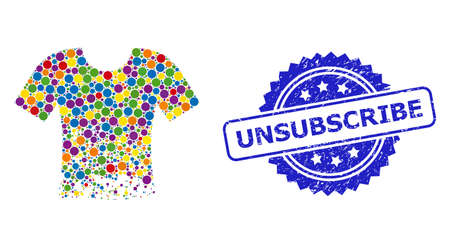 Colorful collage ragged t-shirt, and Unsubscribe textured rosette seal imitation. Blue seal has Unsubscribe tag inside rosette. Stock Illustratie