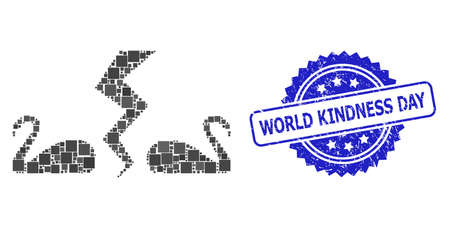 Vector collage divorce swans, and World Kindness Day corroded rosette stamp seal. Blue stamp seal has World Kindness Day caption inside rosette.