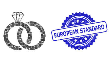 Vector mosaic diamond wedding rings, and European Standard rubber rosette stamp seal. Blue stamp seal includes European Standard title inside rosette.